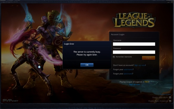 Server busy message.