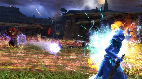 Elementalist fighting a Guardian in Guild Wars 2.